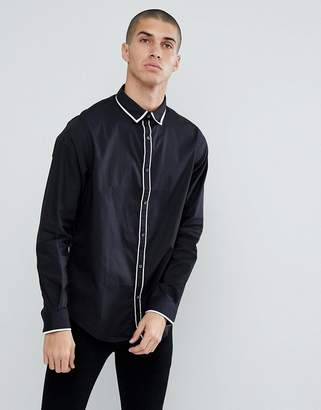 Process Black Contrast Tipped Collar and Placket Slim Fit Shirt
