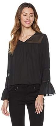 Essentialist Women's Romantic V-Neck Bell Sleeve Blouse