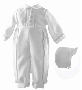 Generic Christening Baptism Newborn Baby Boy Special Occasion Shantung Long Romper w/ Fabric Covered Buttons