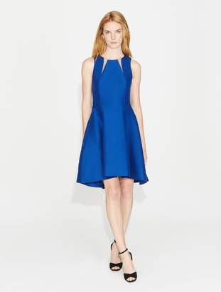 Halston Silk Faille Dress with Sheer Inserts