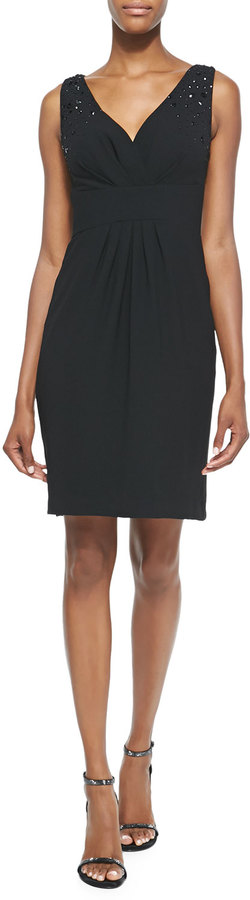 "Monique Lhuillier span class=""product-displayname""]Embellished V-Neck Cocktail Dress, Black [/span]"