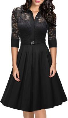 iSherman Women's Vintage 1950s Style 3/4 Sleeve Black Lace Flare A-line Dress