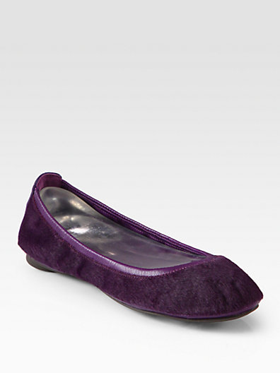 Tory Burch Eddie Calf Hair and Leather Ballet Flats