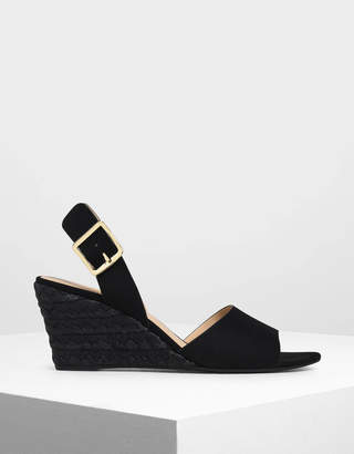 Charles & Keith Chunky Buckle Espadrille Wedges