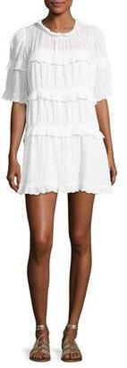 Etoile Isabel Marant Yin Tiered Ruffled Mini Dress, White $410 thestylecure.com