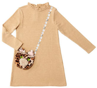 Charabia Girl's Mimi Long-Sleeve Dress w/ Attached Faux Fur Crossbody Bag, Size 4-8