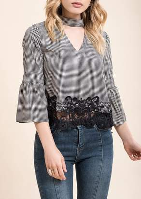 Moon River Lace Hem Choker Neck Blouse