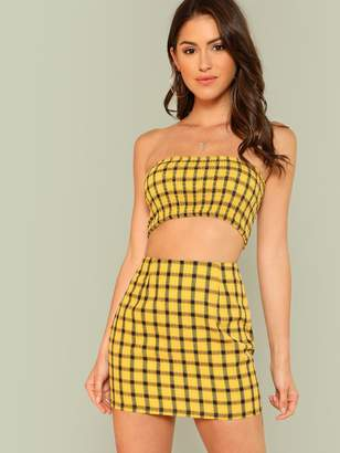 c682ddbc39b Shein Plaid Print Shirred Strapless Crop Top And Skirt Set