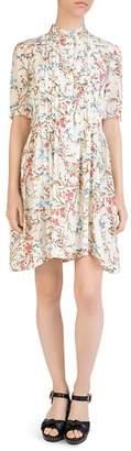 The Kooples Pleated Avian & Floral Print Silk Dress