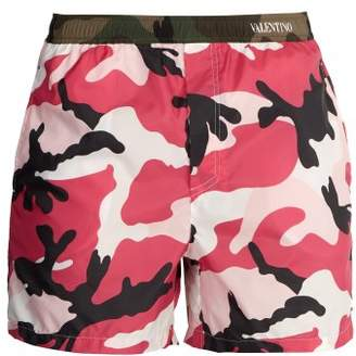 Valentino Camouflage Print Swim Shorts - Mens - Pink