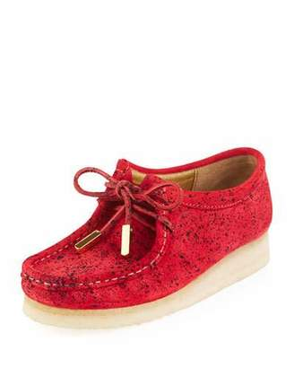 Sycamore Style Women's Suede Moc Wallabee Shoe, Red with Black Speckle Print