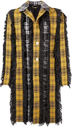 Versace checked button coat