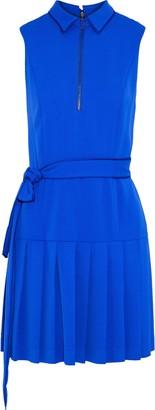 Alice + Olivia Yoko Belted Pleated Crepe Mini Dress