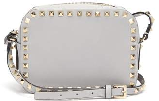Valentino Rockstud Camera Leather Cross Body Bag - Womens - Light Grey