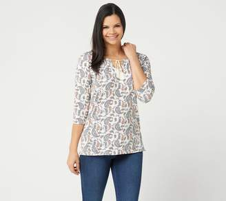 Belle By Kim Gravel Belle by Kim Gravel TripleLuxe Knit Indigo Paisley Top