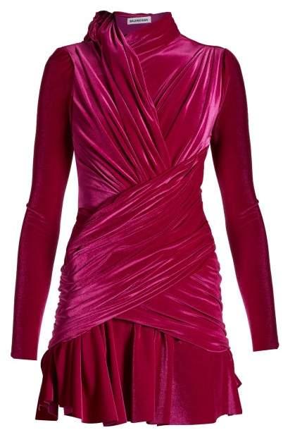 Draped Velvet Mini Dress - Womens - Dark Pink