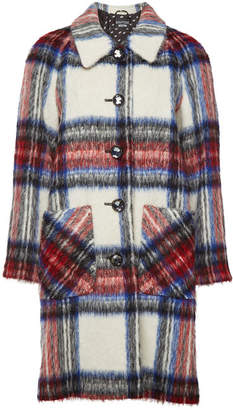 Moschino Printed Coat with Virgin Wool, Mohair and Alpaca