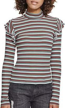 5ec46975d6 Urban Classic Women's Ladies Rib Striped Volant Turtleneck L/s Long Sleeve  Top