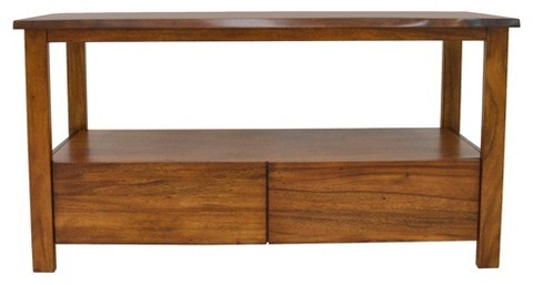 222 Fifth 222 Fifth Cayu Live Edge 2 Drawer Media Console - Brown