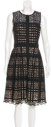 Oscar de la Renta Lace-Trimmed Eyelet Dress