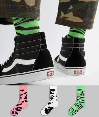 Asos DESIGN sports style socks in animal print 3 pack