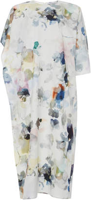 Agnona Asymmetric Floral-Print Cotton-Silk Cocoon Dress Size: 38