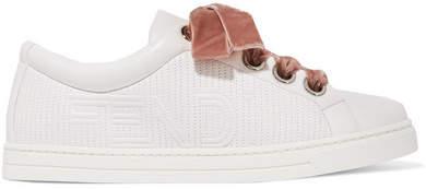 Fendi - Velvet-trimmed Matelassé Leather Sneakers - White