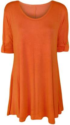 Roland Mouret Fashions Womens Plain Plus Size 3/4 Sleeves With Button Swing Top Tunic Mini Dress Large US 10