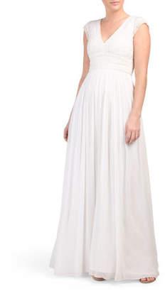 Palmero Bridal Cap Sleeve Long Dress
