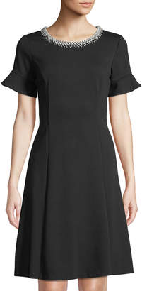 Karl Lagerfeld Paris Pearlescent-Neck Ruffle-Cuff A-Line Dress