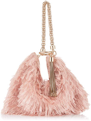 Jimmy Choo CALLIE Ballet Pink Satin Fringes Clutch Bag