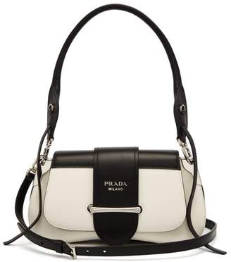 Prada Sidonie Leather Shoulder Bag - Womens - Black White
