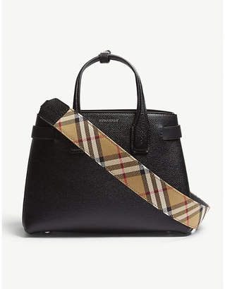 Burberry Black Check Vintage Banner Grained Leather Tote Bag