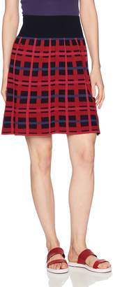 Lacoste Women's Graphic Check Wool and Cotton Jacquard Flared Skirt, Navy Blue/Turkey Red/Beau, 38