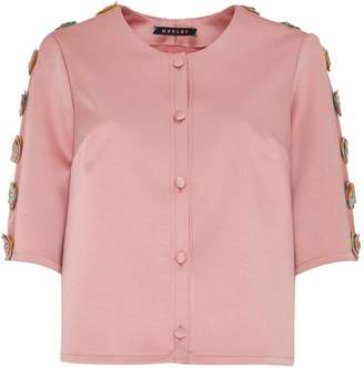 Manley - Tabby Silk & Leather Embellished Jacket Pink