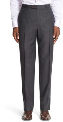 Men's Canali Flat Front Check Wool Trousers $395 thestylecure.com