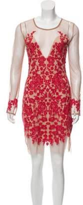 For Love & Lemons Embroidered Mesh Mini Dress Red Embroidered Mesh Mini Dress