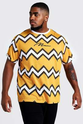 boohoo Big & Tall Chevron T-Shirt MAN Embroidery