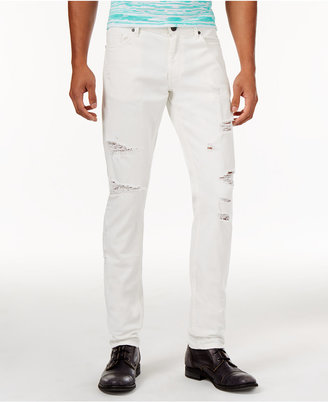 Versace Jeans Men's Slim-Fit White Ripped Jeans $295 thestylecure.com