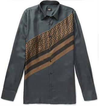 Fendi Slim-Fit Logo-Print Silk-Twill Shirt