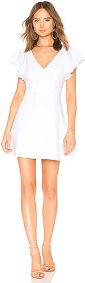 BCBGeneration Deep V Ruffle Sleeve Dress