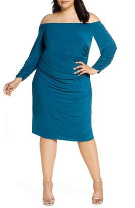 Eliza J Off the Shoulder Long Sleeve Ruched Dress