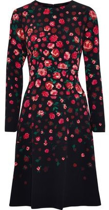 Lela Rose Tiered Floral-Print Crepe Dress