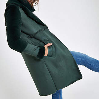 River Island Green suedette faux fur lining coat