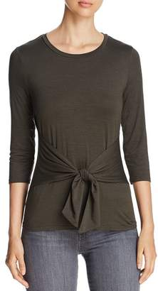 Three Dots Refined Jersey Tie-Detail Top