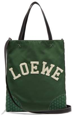 Loewe Sneaker Leather And Nylon Tote Bag - Mens - Green