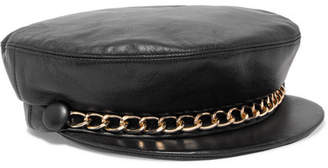 Eugenia Kim Marina Chain-embellished Leather Cap - Black