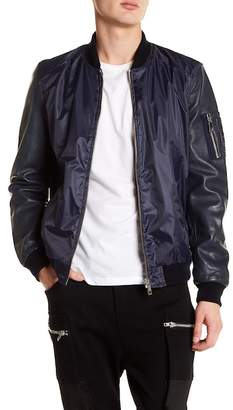 Hip & Bone Leather Sleeve Bomber Jacket