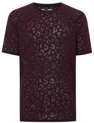 Topman Mens Red Burgundy Leopard Print Mesh T-Shirt