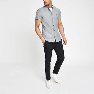 River Island Grey Oxford grandad muscle fit shirt